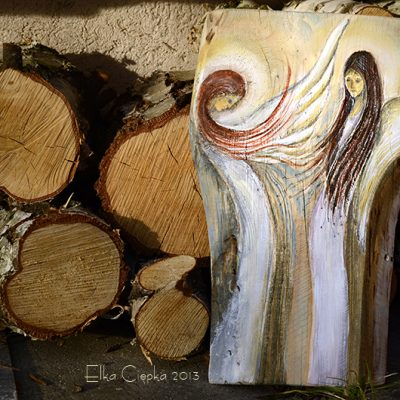 Anielski Dialog - ręcznie malowany na naturalnym drewnie| Angel painted on wood