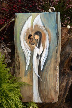 Anioł Niezwykłości - wyjątkowy Anioł dla wyjątkowego właściciela  Angel painted on wood