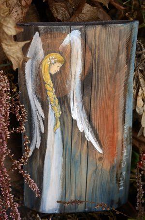 Anioł Tradycji - prezent na komunię dla dziewczynki  Angel painted on wood