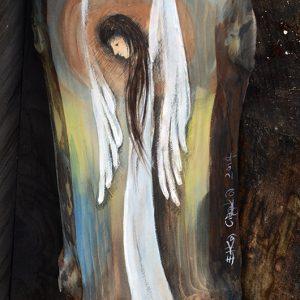 Anioł Łagodności malowany na desce