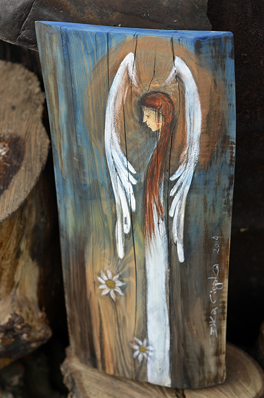 Anioł Nadziei dla kazdego, komu nadziei brak lub trzeba go podtrzymać w dobrym i pozytywnym myśleniu| Angel painted on wood
