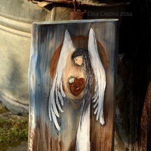 Anioł Pomocnej Dłoni - prezent dla tych, którzy potrzebują pomocnej dłoni| Angel painted on wood
