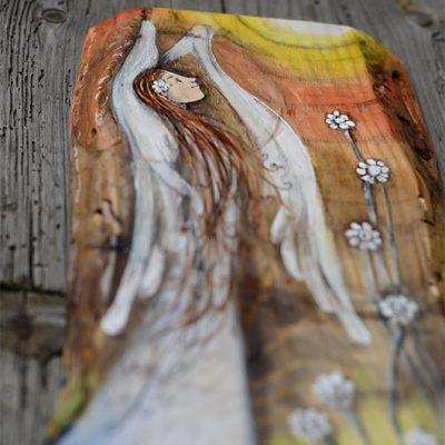 Anioł w Pełnym Blasku - malowany na desce| Angel painted on wood