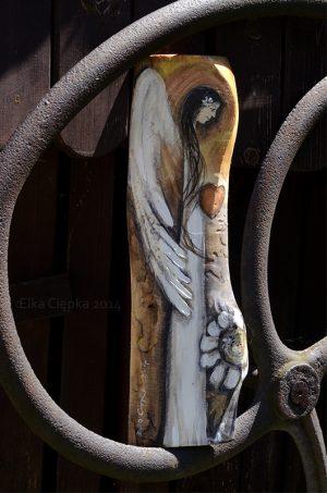 Anioł Serdeczności malowany na desce - prezent na każdą okazję  Angel painted on wood