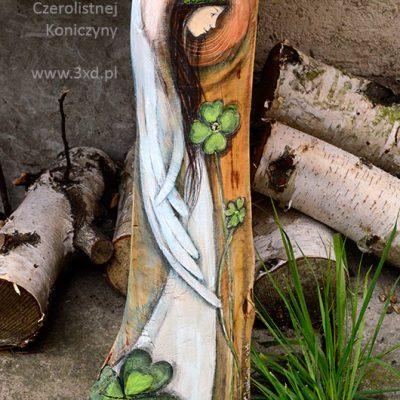 Anioł Czterolistnej Koniczyny - Anioł przynoszący szczęście| Angel painted on wood