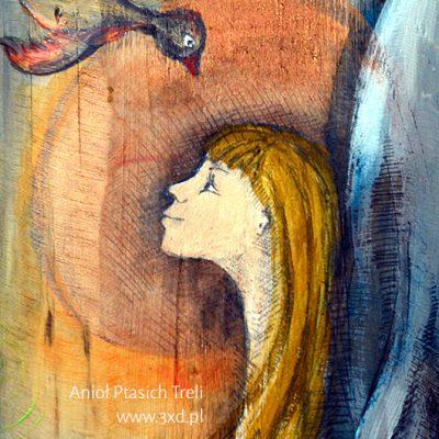 Anioł Ptasich Treli - Anioł z ptaszkami | ręcznie malowany na drewnie