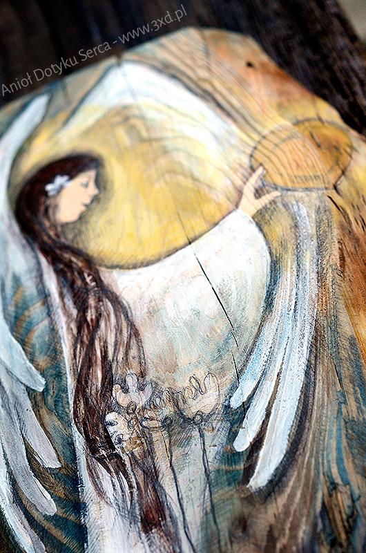 Anioł Dotyku Serca - Anioł malowany na drewnie najlepszy jako podziękowanie dla Rodziców od Pary Młodej na weselu.