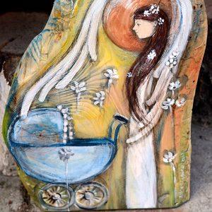 Anioł Strzegący od Wszelkiego Złego - prezent dla noworodka lub prezent na chrzciny| Angel painted on wood