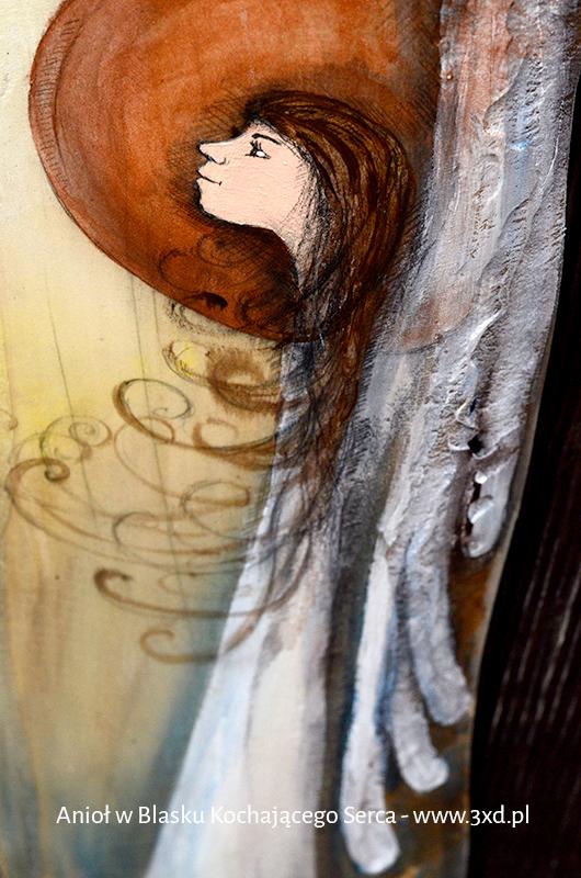 Anioł w Blasku Kochającego Serca to symbol wdzięczności dla kochającej i kochanej osoby lub osób  Angel painted on wood