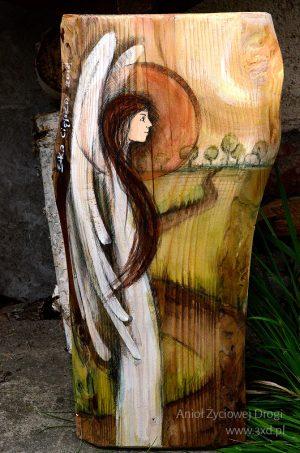 Anioł Życiowej Drogi - Oryginalny prezent na początek drogi życia, z okazji narodzin dziecka lub na chrzciny, ale także bardzo symboliczny prezent na ślub| Angel painted on wood