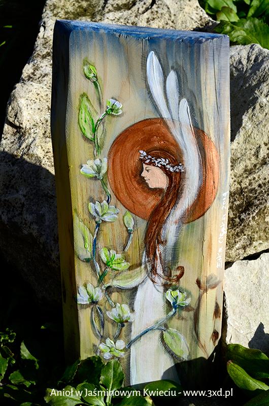 Anioł w Jaśminowym Kwieciu   Ręcznie malowany na drewnie   Prezent dla każdego i na każdą okazję