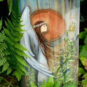 Anioł Kwiatu Paproci | Obrazek ręcznie malowany na drewnie | Prezent dla tego, komu potrzebny jest czar magicznego kwiatu| Angel painted on wood