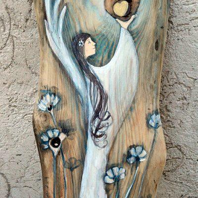 Anioł Drgającego Serca to prezent i podziękowanie dla Rodziców od Pary Młodej na weselu albo na rocznicę ślubu lub inny jubileusz| Angel painted on wood