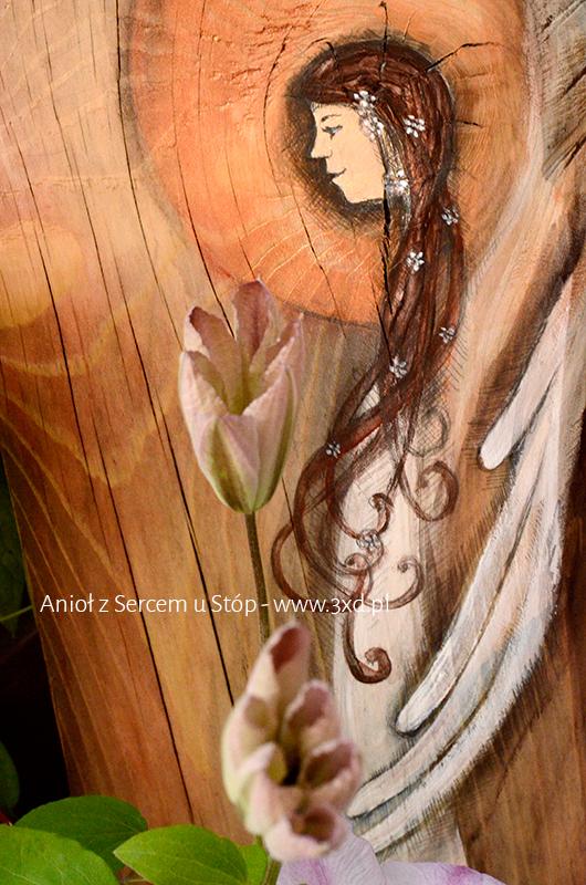 Anioł z Sercem u Stóp | Obrazek ręcznie malowany na desce | Oryginalna forma podziękowania dla Rodziców na weselu od Pary Młodej| Angel painted on wood