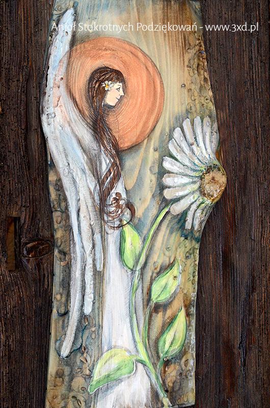 Anioł Stokrotnych Podziękowań, Obrazek ręcznie malowany na desce, podziękowania dla Rodziców na weselu| Angel painted on wood