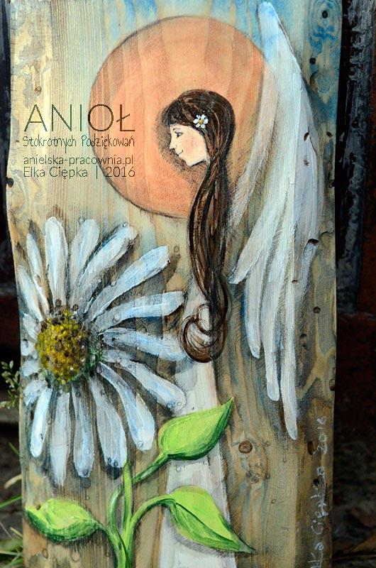 Anioł Stokrotnych Podziękowań | Obrazek ręcznie malowany na desce | Oryginalna forma podziękowania dla Rodziców na weselu od Pary Młodej