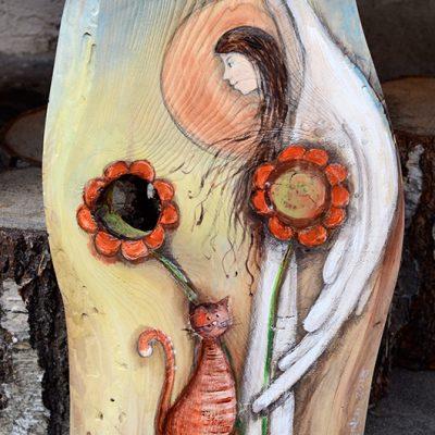 Anioł Powrotu do Dziecięcych Lat | Ręcznie Malowany na drewnie | Autor: Elka Ciępka| Angel painted on wood