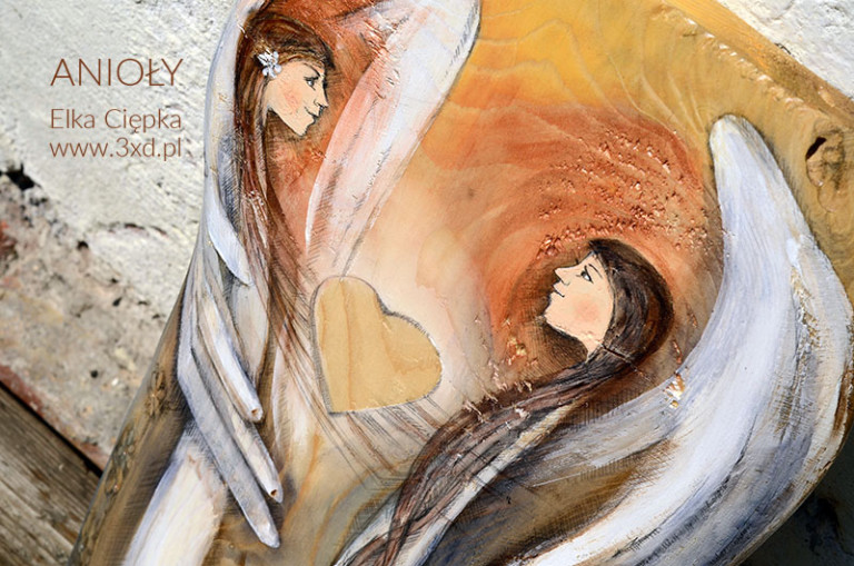 Anioły Wielkiego Serca | Oryginalne i niepowtarzalne Anioły ręcznie malowane na drewnie