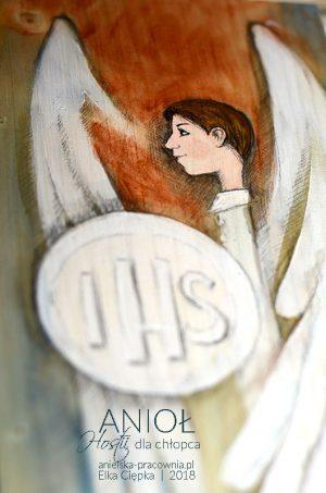 Anioł Hostii jest wyjątkowym prezentem i równocześnie pamiątką na długie lata dla chłopca z okazji Pierwszej Komunii Świętej