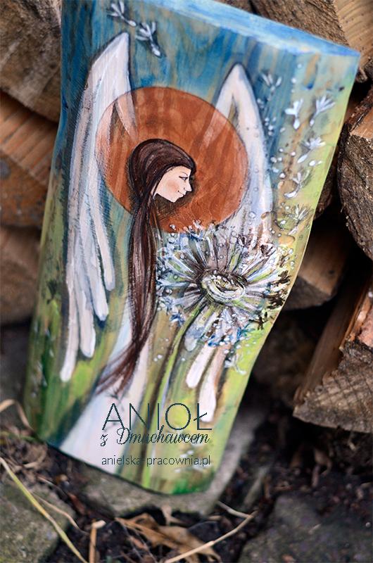 Anioł z Dmuchawcem - prezent na chrzciny, komunię lub ślub